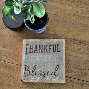 Burlap & Wood Thankful Grateful Blessed Wall Art